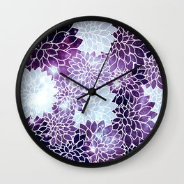 Space Dahlias Purple Ice Wall Clock