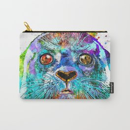Seal Watercolor Grunge Carry-All Pouch