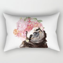 Sloth with Flowers Crown in White Rectangular Pillow