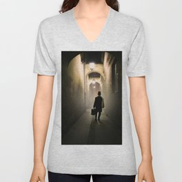 Victorian man with top hat Unisex V-Neck