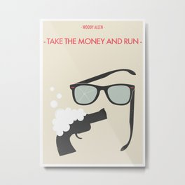 "Woody Allen ""Take the Money and Run"" M0vie Poster Metal Print"