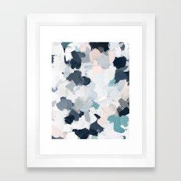 Navy Indigo Blue Blush Pink Gray Mint Abstract Air Clouds Art Sky Painting Framed Art Print
