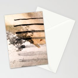 Desert Musings - a watercolor and ink abstract in gray, brown, and black Stationery Cards