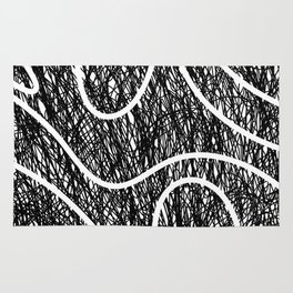 Scribble Ripples - Abstract Black and White Ink Scribble Pattern Rug