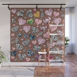 Heart Diamonds are Forever Love Brown Wall Mural