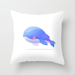Cute whale. Vector graphic character Throw Pillow
