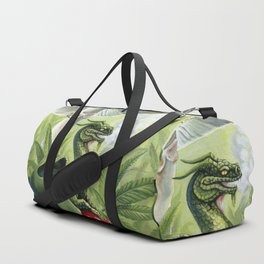 Smoking Dragon in Cannabis Leaves Duffle Bag