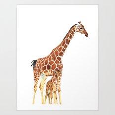 Giraffe Art - A Mother's Love - By Sharon Cummings Art Print