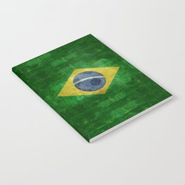 Flag of Brazil with football (soccer ball) retro style Notebook