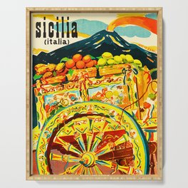 Sicily Italy Vintage Travel Ad Serving Tray