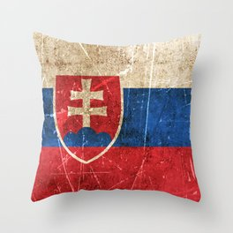Vintage Aged and Scratched Slovakian Flag Throw Pillow