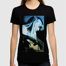 Joni Mitchell Watercolor Black SMALL Womens Fitted Tee