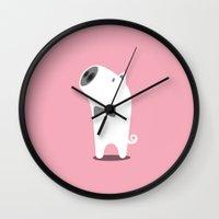 pig Wall Clocks featuring PIG by Seokhyun Shim