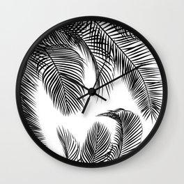 Black palm tree leaves pattern Wall Clock