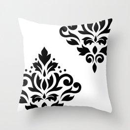 Scroll Damask Art I Black on White Throw Pillow