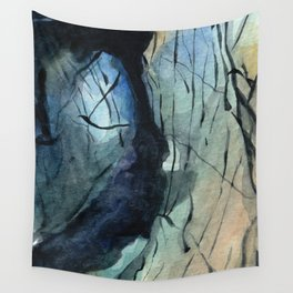 Labradorite Crystal Watercolor Wall Tapestry