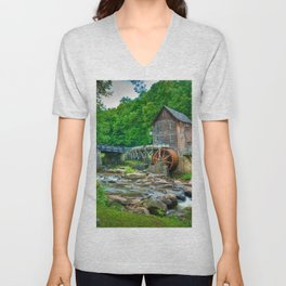 Image USA Stream Babcock State Park Nature water mill park Forests stone Creek brook Creeks Streams Watermill Parks forest Stones Unisex V-Neck