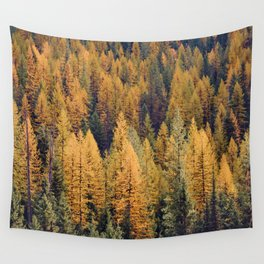 Autumn Tamarack Pine Trees Wall Tapestry