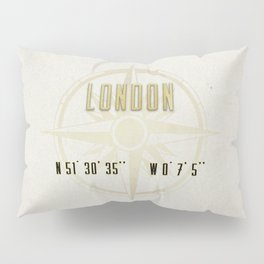 London - Vintage Map and Location Pillow Sham