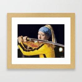 "Vermeer's ""Girl with a Pearl Earring"" & Kill Bill Framed Art Print"
