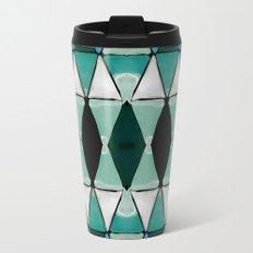 Art Deco Triangles Blue Travel Mug