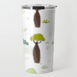 Seamless Pattern with Baobabs and exotic Leaves Travel Mug