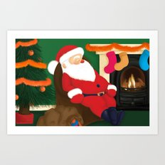 Sleeping Santa Art Print