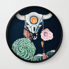 Cow Skull and Cacti on a Wolf Blood Moon Wall Clock