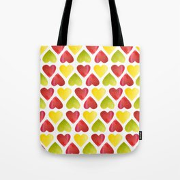 Apple colorful hearts pattern Tote Bag