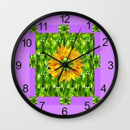 August  Peridots Gemstones & Yellow Sunflower  Lilac Abstract Wall Clock