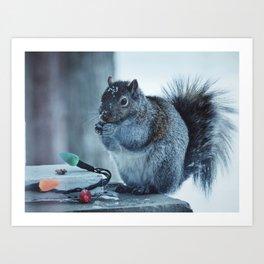 Christmas Squirrel Art Print