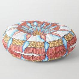Water and Fire Mandala Floor Pillow