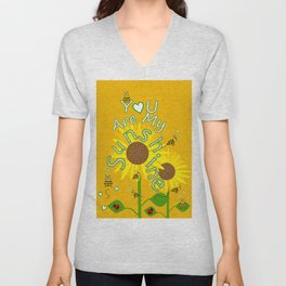 Sunshine And Sunflowers Unisex V-Neck