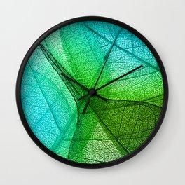 Sunlight Filtering Through Transparent Leaves Green Blue Wall Clock