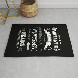 You Will Be Impressed - white on black Rug
