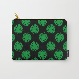Philodendrons Pattern - Green on Black Carry-All Pouch