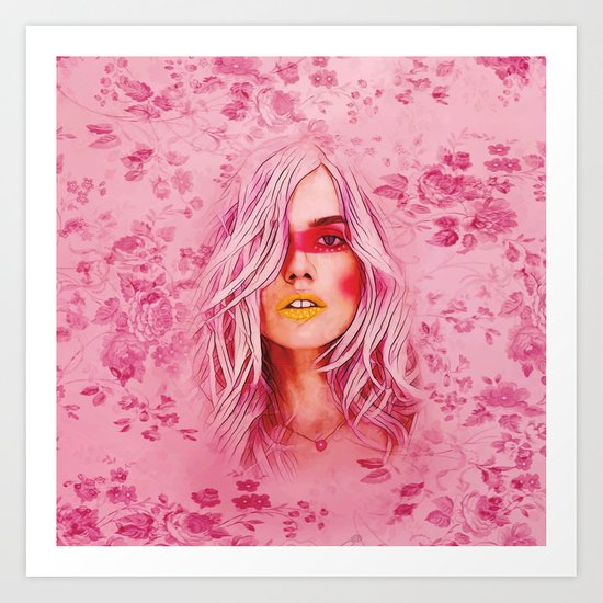 Girl with pink hair Art Print