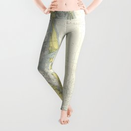 Vintage Map of The Outer Banks (1942) Leggings
