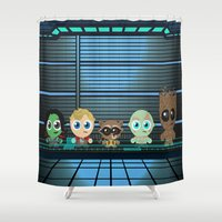 guardians of the galaxy Shower Curtains featuring GUARDIANS OF THE GALAXY by Chris Thompson, ThompsonArts.com