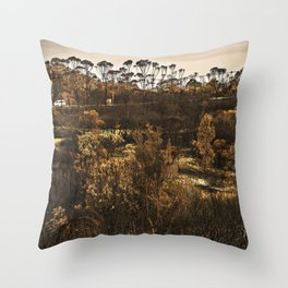Burnt out bushland Throw Pillow
