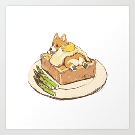 dog on sandwich Art Print