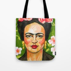 Frida in green Tote Bag