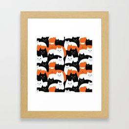 Cat Family on Halloween Framed Art Print