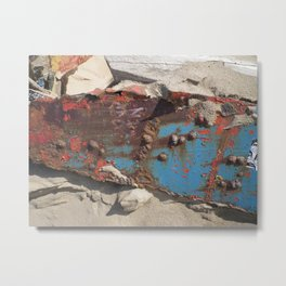 COLLAGE OF DECAY BOAT WRECK ABSTRACT Metal Print