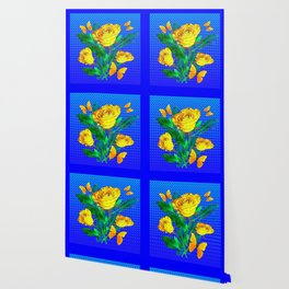 YELLOW BUTTERFLIES, ROSES, & BLUE OPTICAL ART Wallpaper