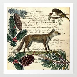 western country fairy rustic woodland nursery winter pine forest animal fox Art Print