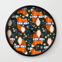 Hipster foxes Wall Clock