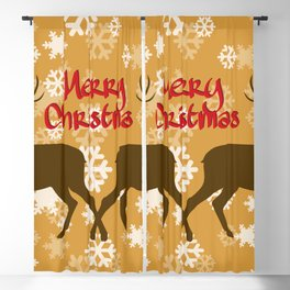 Reindeer silhouette red typography and snowflakes Blackout Curtain