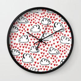 Heart Rain watercolor ink pattern basic minimal love valentines day gifts Wall Clock
