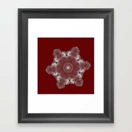 Spectacular fractal snowflake on textured red Framed Art Print